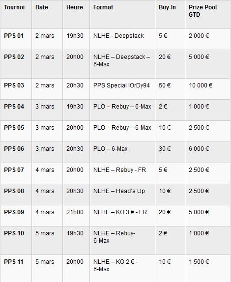 Programme poker series