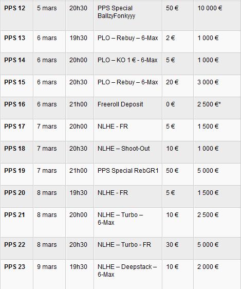 Programme des pmu Poker Series
