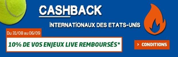 Cashback US Open sur PMU