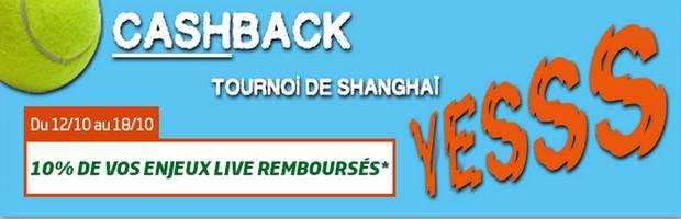 Cashback tournoi de Shanghai sur PMU