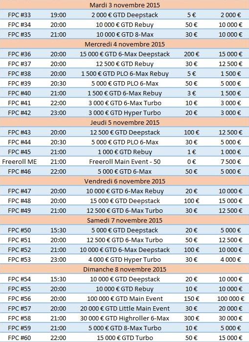 Programme du FPC IV sur PMU