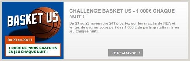 1.000 € à partager chaque nuit en pariant sur le basket US avec PMU