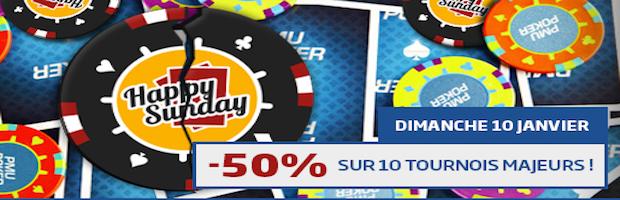 50 % de réduction sur 10 tournois le 10 janvier 2016