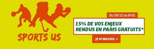 15% remboursés sur les sports US par PMU