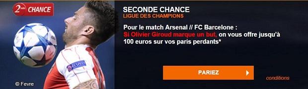 Seconde Chance Arsenal-Barcelone sur PMU