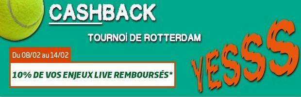 Cashback sur le tournoi de Rotterdam avec PMU