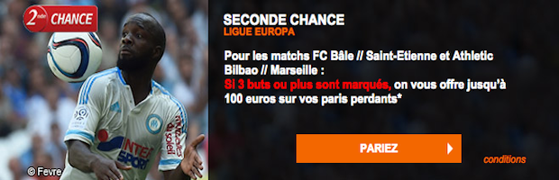 Ligue Europa sur PMU : 100€ offerts sur Bale - ASSE et Bilbao - Marseille