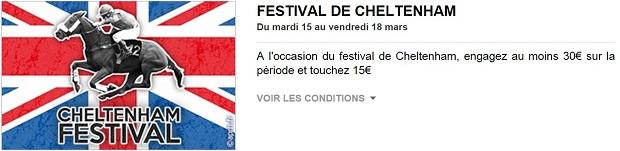 Festival de Cheltenham : 15€ à gagner avec PMU