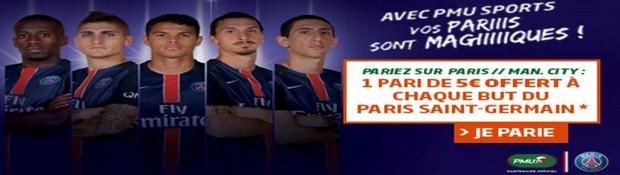 Misez sur PSG/Manchester City avec PMU
