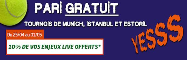 Jusqu'à 100€ offerts du 25 avril au 1er mai sur le tennis avec PMU.fr