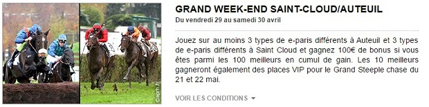 Grand Week-end SAint-Cloud/Auteuil sur PMU le 29 et 30 avril