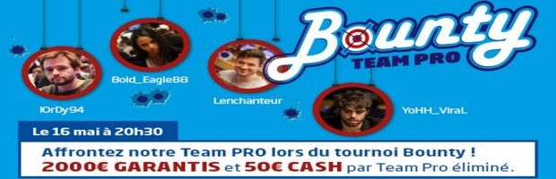 Le tournoi de poker Bounty Team Pro sur PMU