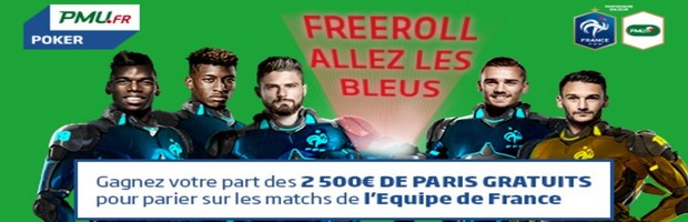 Participez aux Freeroll Allez les Bleus sur PMU Poker