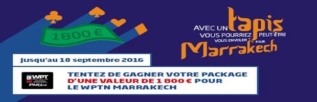 Package de 1.800€ à gagner avec PMU pour participer au WPT national de Marrakech