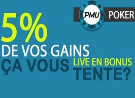 Boost de gains de 5 % avec l'offre PMU Poker Live