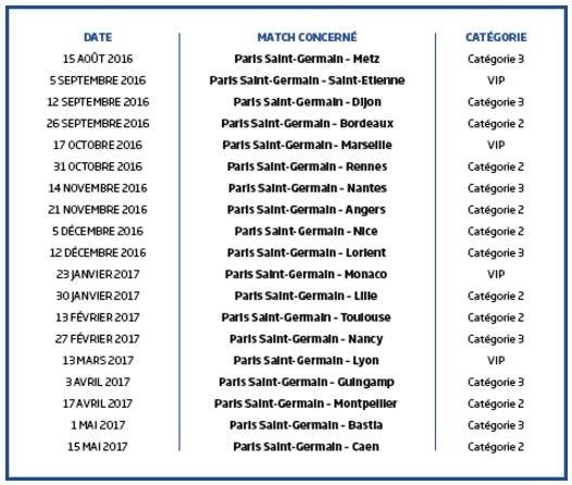 Dates des différents matchs du PSG qui donneront lieu à un tournoi spécial