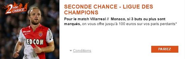 Jusqu'à 100 € de cashback pour Villareal/Monaco avec PMU