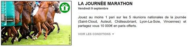 Cagnotte de 10.000 euros mise en jeu par PMU turf pour la journée marathon