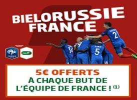 Empochez 5 € par but de la France contre la Biélorussie avec PMU pour les qualifications à la CdM de foot 2018