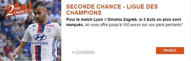 Jusqu'à 100 € de cashback pour Lyon/Dinamo Zagreb