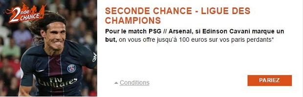 Promo Seconde Chance sur PMU avec jusqu'à 100 euros de cashback lors de PSG/Arsenal