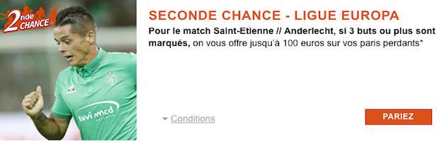 Seconde Chance avec PMU sur Saint-Etienne/Anderlecht width=