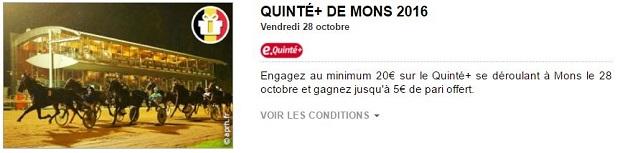 Mise bonus de 2 € à 5 € en pariant sur la réunion de Mons du 28 octobre