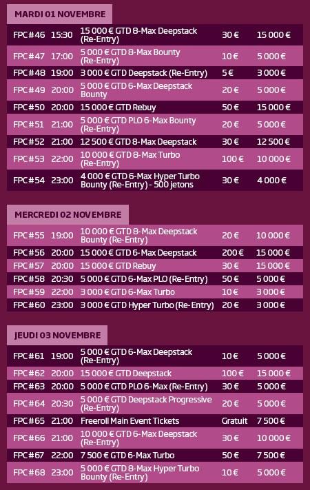 PMU.fr : calendrier du French Poker Championship