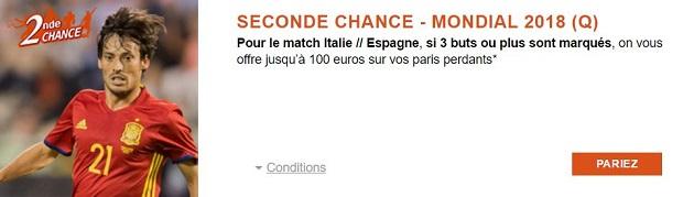 Jusqu'à 100€ de paris remboursés pour le match de qualification à la CdM Italie/Espagne sur PMU
