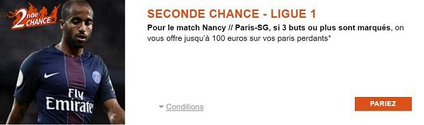 Offre Seconde Chance de PMU sur AS Nancy Lorraine/Paris Saint-Germain