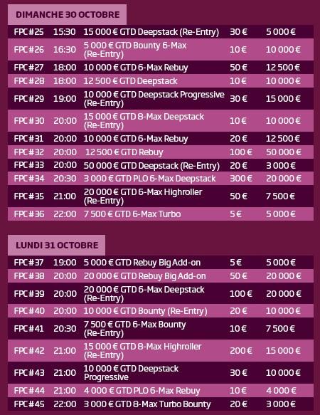 Le calendrier du FPC de PMU Poker