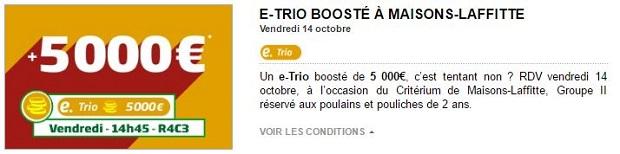 Jackpot de 5.000 euros à partager avec PMU Turf pour les courses de Maison-Laffitte