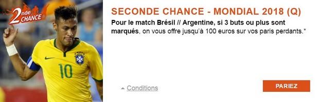 Pariez en seconde chance sur Brésil/Argentine avec PMU