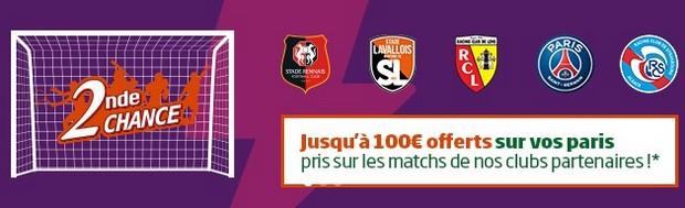 Pariez en Seconde Chance sur les clubs partenaires de PMU en Ligue 1 et Ligue 2