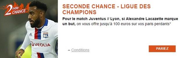 Juventus Turin-Lyon en LdC : Seconde Chance PMU