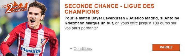 Pariez en seconde chance sur Bayer Leverkusen/Atletico Madrid