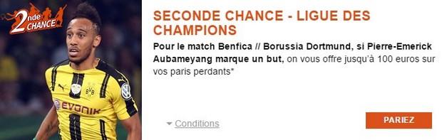 Seconde Chance PMU pour Benfica/Dortmund en Ligue des Champions