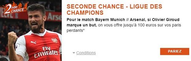 Bayern Munich/Arsenal en 8ème de finale de la LDC avec PMU width=