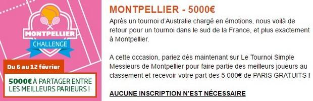 5.000€ en jeu sur PMU pour le tournoi de tennis de Montpellier