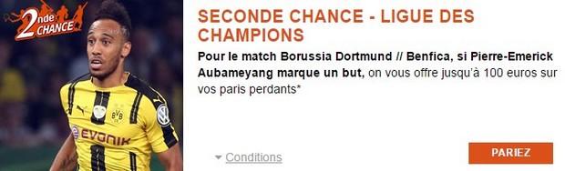 Misez en Seconde Chance sur Dortmund/Benfica avec PMU