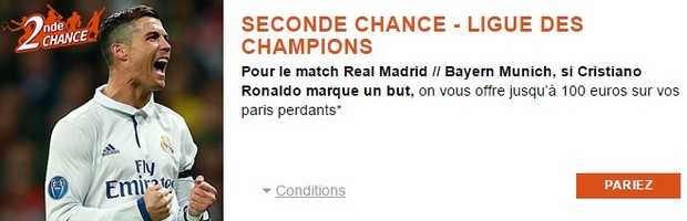 Seconde Chance PMU sur Real Madrid-Bayern Munich en Ligue des Champions