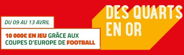 10.000€ en jeu sur les 1/4 de finale aller des Coupes d'Europe avec PMU
