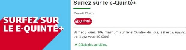 10.000€ en jeu sur PMU Turf pour un e-quinté le samedi 22 avril