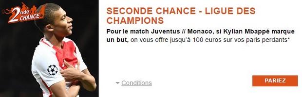 Seconde Chance PMU pour Juventus/Monaco en LDC