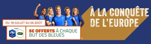 5€ offerts par PMU pour chaque but des Bleues lors de l'Euro 2017 féminin