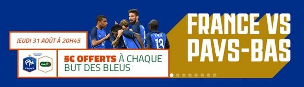 Jusqu'à 15€ à remporter lors de France/Hollande le 31 août avec PMU