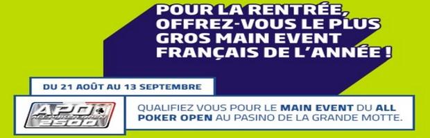 Qualifiez vous pour le Main Event du All Poker Open avec PMU