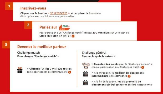 Inscrivez vous à la Stade Toulousain Challenge Ligue avec PMU