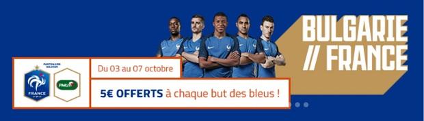 5€ offerts sur PMU par but des Bleus face aux Bulgares en qualification pour la Coupe du monde