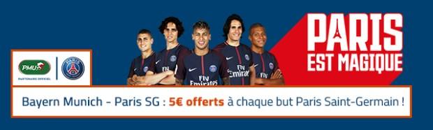 5€ offerts par but du PSG face au Bayern Munich en Ligue des Champions
